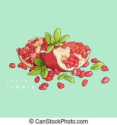 Fresh pomegranate on mint - Fresh tasty bright pomegranate...