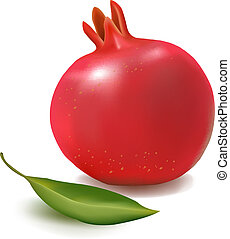 Fresh pomegranate with green leaf - Fresh pomegranate with...