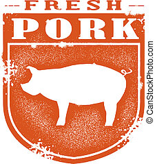 Fresh Pork Vintage Stamp