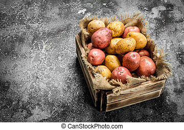 Fresh potatoes in a box.