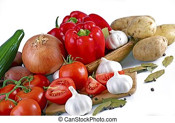 Fresh Produce -Fresh Vegetables. Tomatoes, Onions, Garlic, Red Paprikas. Organic Vegetables Isolated on White. Food Photo Collection.
