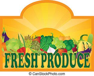 Fresh Produce Sign Sun Rays V - Grocery Store Fresh Produce ...