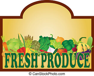 Fresh Produce Signage Illustration - Grocery Store Fresh...
