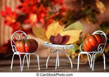 fresh pumpkin in interior wooden room on chair