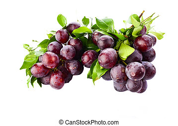 Fresh purple grapes isolated on white background.