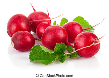 Fresh radish with green leaf