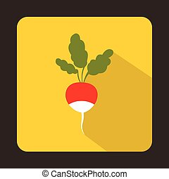 Fresh radish with leaves icon in flat style
