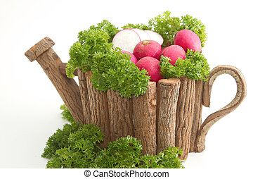 fresh radishes  with parsley in wooden pot