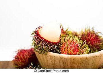 Fresh rambutan, tropical fruit.