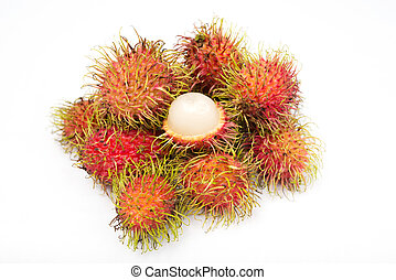 Fresh rambutans on white background
