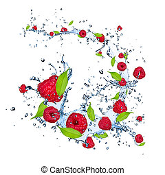 Fresh raspberries falling in water splash, isolated on white background