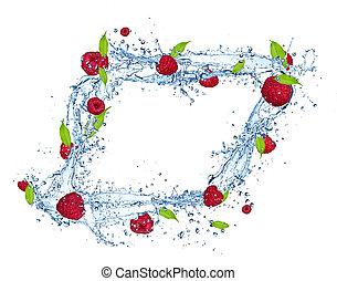 Fresh raspberries falling in water splash, isolated on white background, vertical