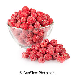 fresh raspberries in a bowl isolated on white