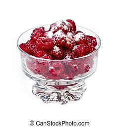 Fresh raspberries in dish