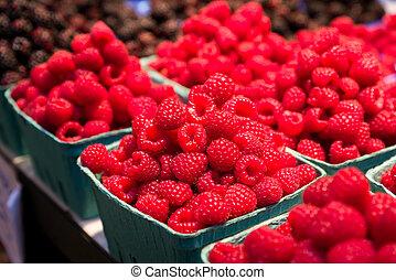 Fresh Raspberries on Display
