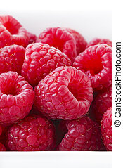 Fresh Raspberries on white