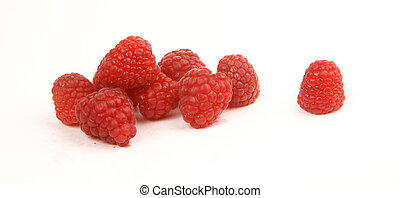 Raspberries on White