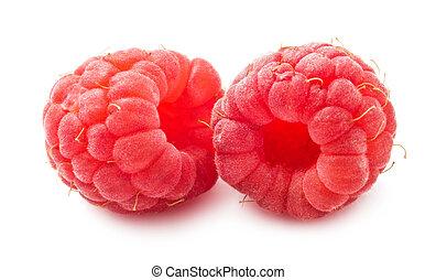 Fresh raspberries - Ripe red raspberries isolated on white...