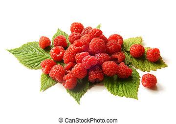 Fresh raspberries with leaves