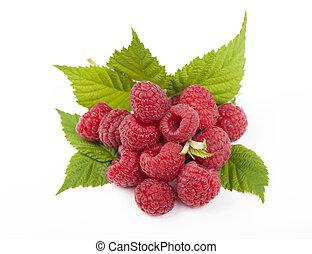 Fresh raspberry on a white background