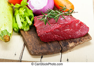 fresh raw beef cut ready to cook