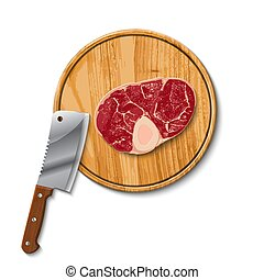 raw beef meat and butcher meat knife