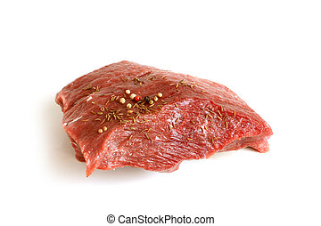 Fresh raw beef meat with spices
