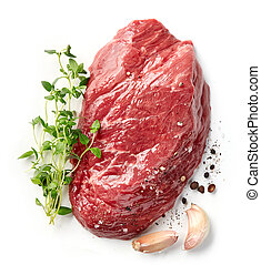fresh raw beef steak black angus isolated on white background, top view