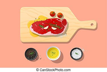 Fresh raw beef, strip loin steak and spices on wooden cutting board, food preparation