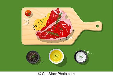 Fresh raw beef, t-bone steak and spices on wooden cutting board, food preparation