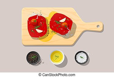 Fresh raw beef, tenderloin steak and spices on wooden cutting board, food preparation
