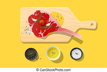 Fresh raw beef, tomahawk steak and spices on wooden cutting board, food preparation