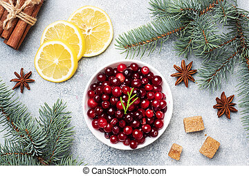 Fresh raw berries cranberries and lemon in a plate on a gray background
