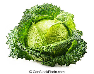 Fresh raw cabbage isolated on white background