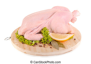Fresh raw chicken and condiments on wooden board - Fresh raw...