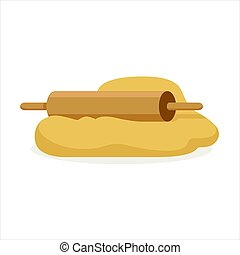 Fresh raw dough and rolling pin vector Illustration