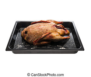Fresh raw duck homemade ready to cook on a plate