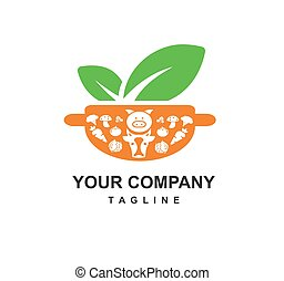 fresh raw food recipe for healthy and delicious food restaurant logo and icon