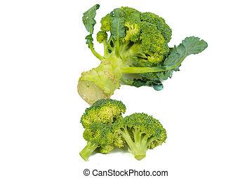 Fresh, Raw, Green Broccoli Pieces.