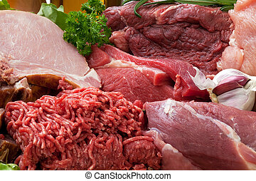 Fresh Raw Meat Background with Smoked Pork Chops, Beef Meat...