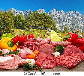 Fresh Raw Meat - Fresh butcher cut meat assortment garnished