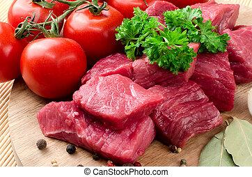Fresh raw meat.