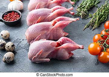 Fresh raw meat quails with herbs, on grey background