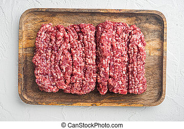 Fresh Raw mince, Minced beef, ground meat, on white background, top view flat lay