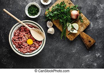 Fresh raw minced beef in a bowl