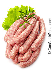 fresh raw minced meat sausages