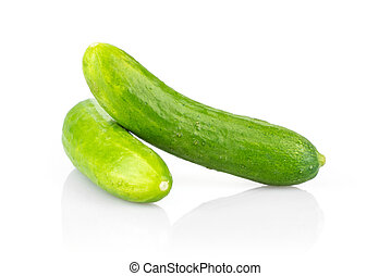Fresh raw mini cucumber isolated on white