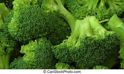 Fresh raw organic broccoli closeup