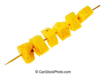 Fresh, raw pineapple chunks nailed on wooden stick isolated ...