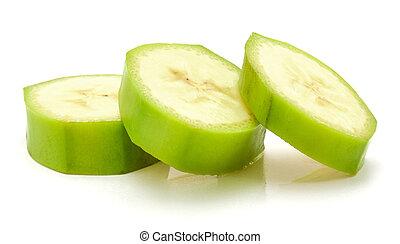 Fresh raw plantain isolated on white